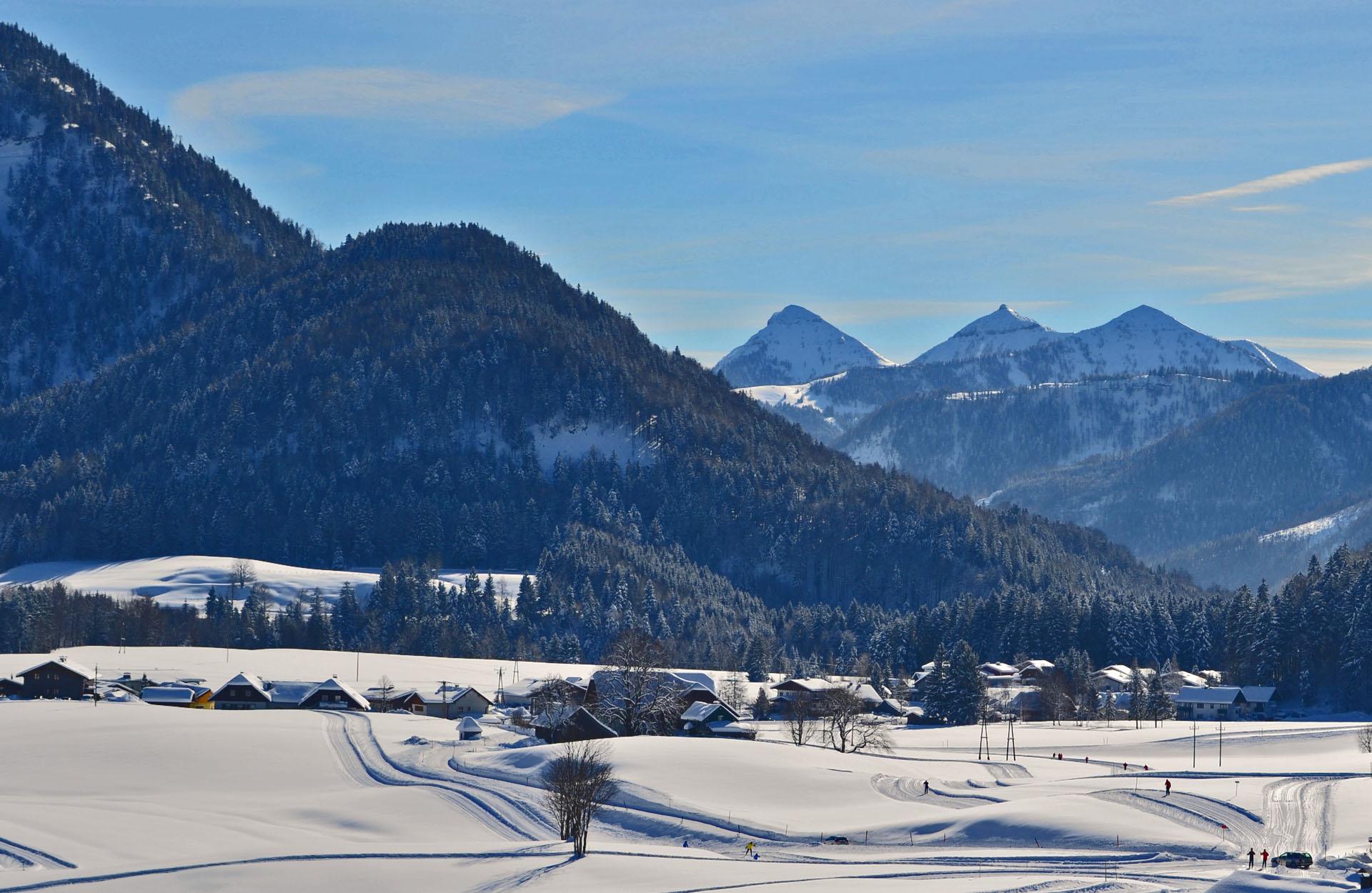 Loipe Faistenau - Ausblick Pension Alpenblick